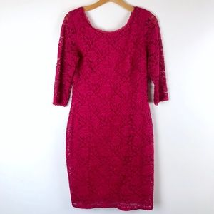 LAUNDRY BY SHELLI SEGAL bright pink lace dress